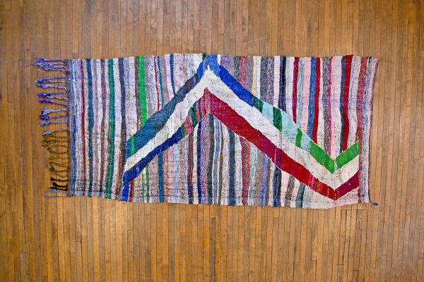 Vintage Moroccan Flat Weave Rag Rug  4u00279u2033x9u002710u201d