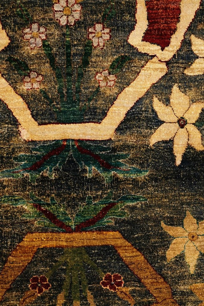 floral intersection of colors in the rug