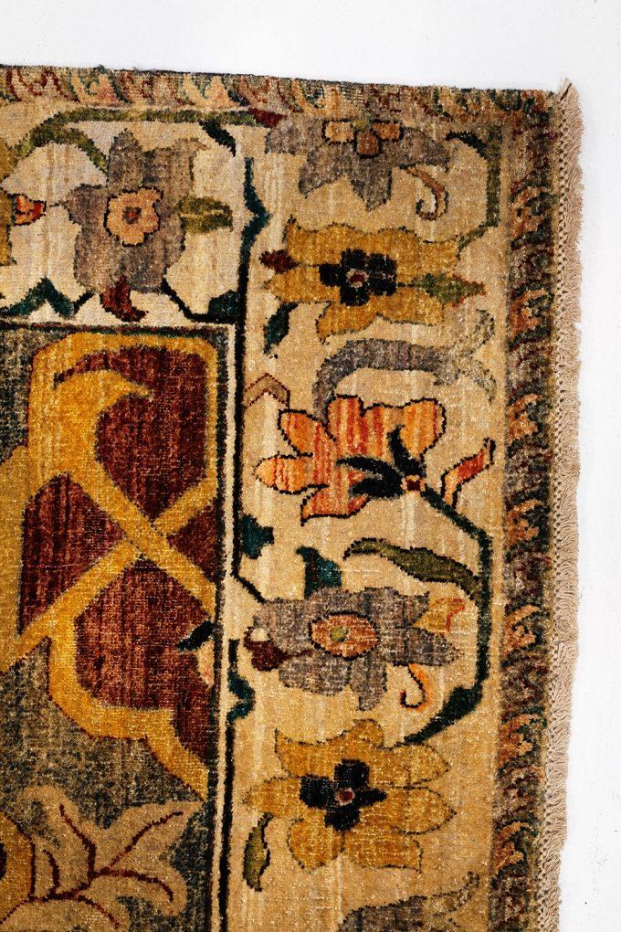 floral framing on decorative rug