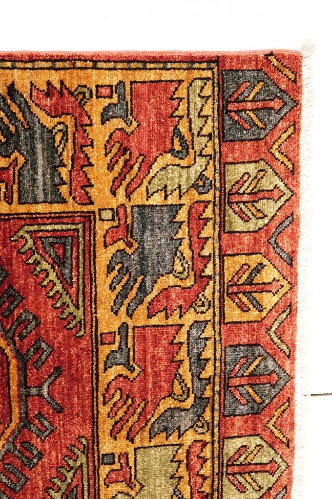 Red black patterned rug